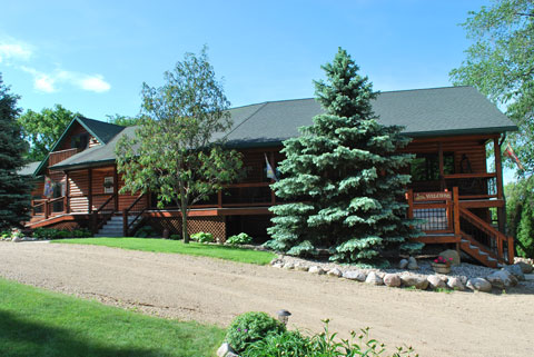 Welcome! Front view of Spirit Cove Lodge Bed and Breakfast. Not a hotel in Alexandria Minnesota