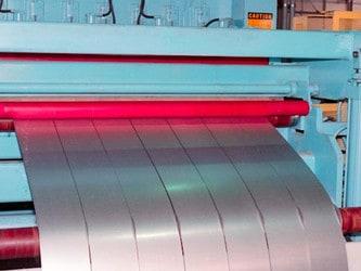 Sheet of steel slit into multiple strips