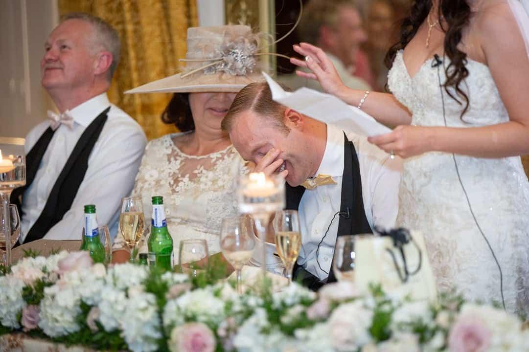 Photo of the groom during Wynyard hall wedding speeches