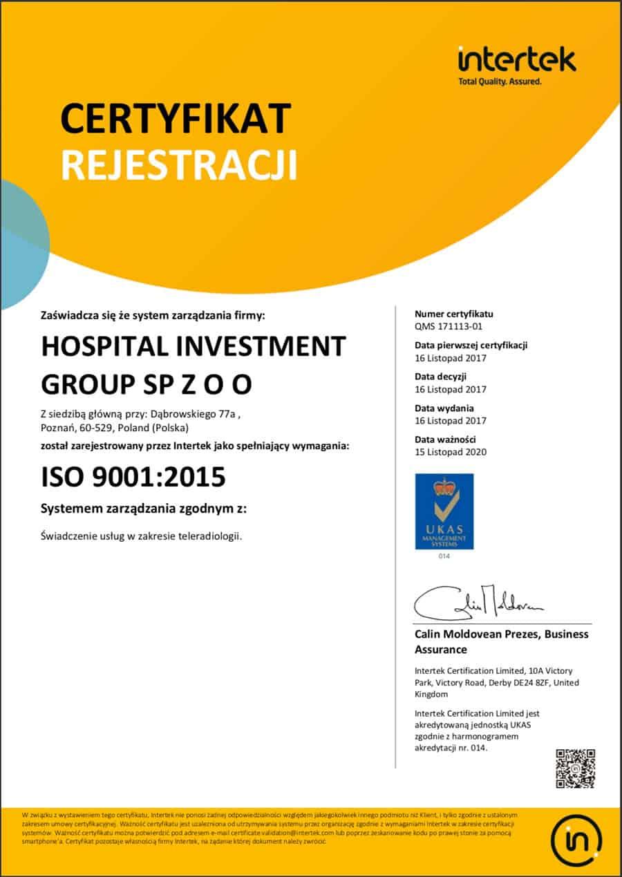Teleradiologia - certyfikat ISO