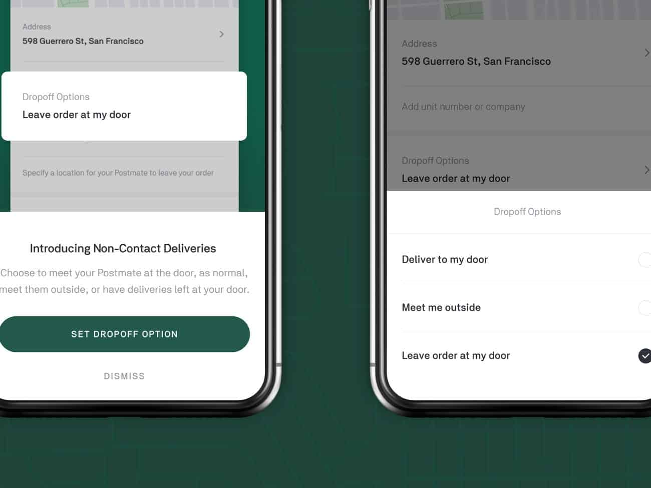 Postmates app showing contactless delivery selection and notification.