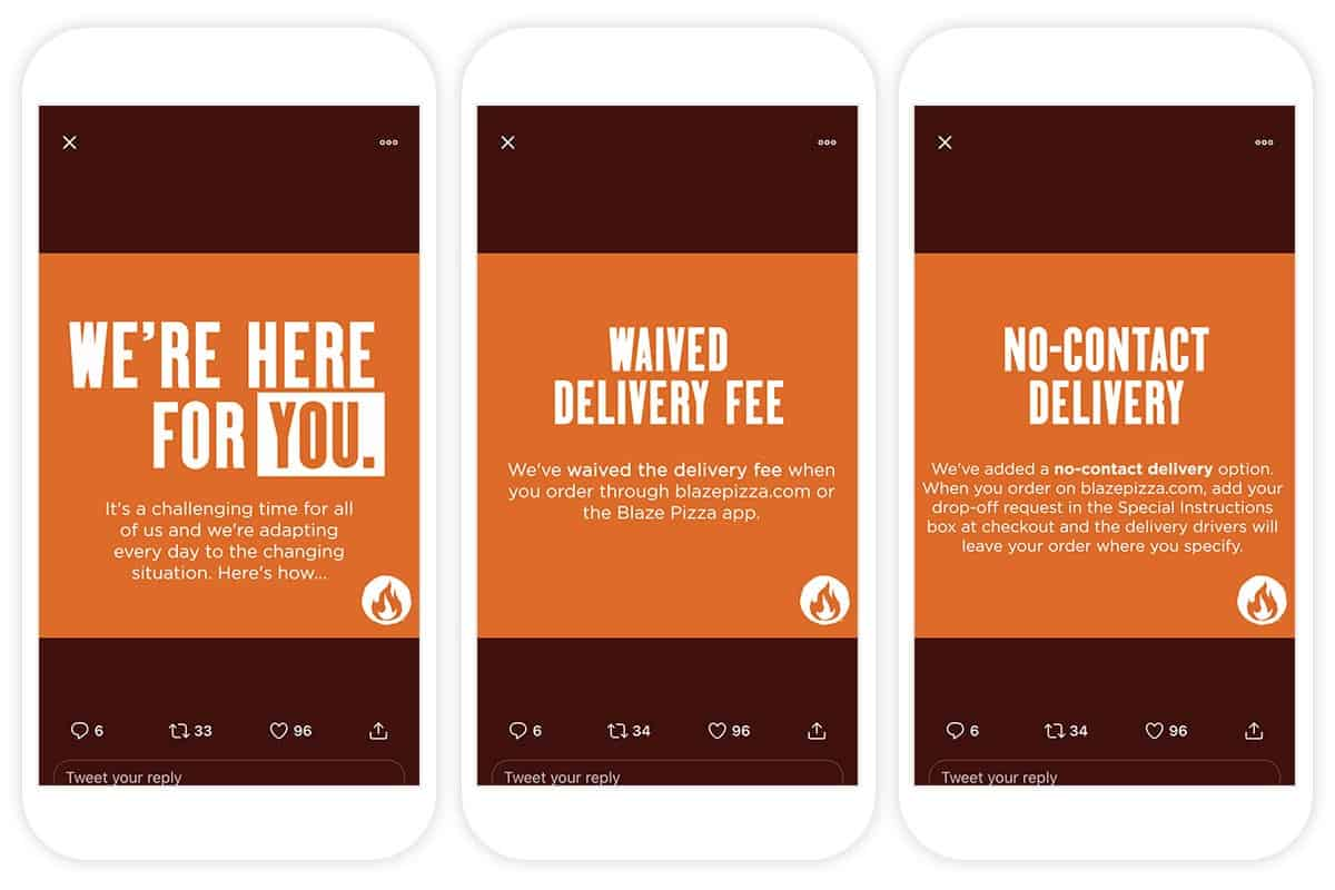 Blaze Pizza tweets promoting free delivery and clarifying available take-out, pick up and delivery channels.
