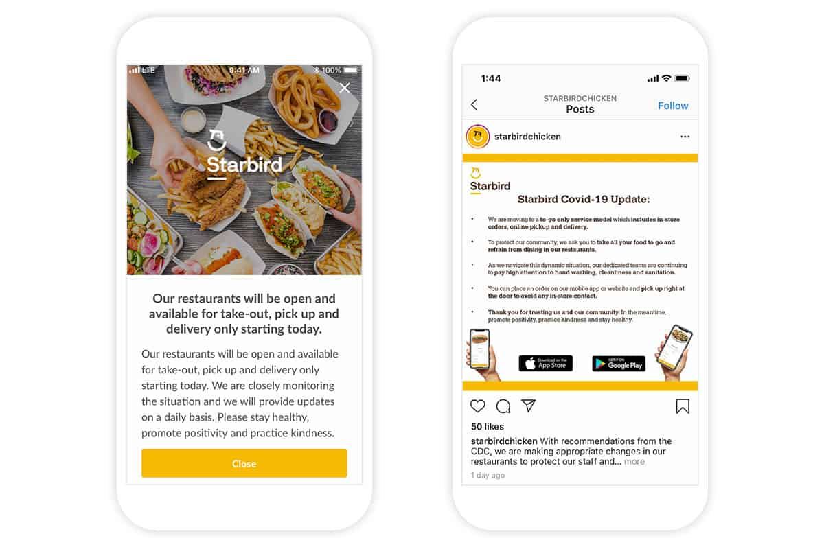 Starbird in-app notification clarifying available take-out, pick up and delivery channels.