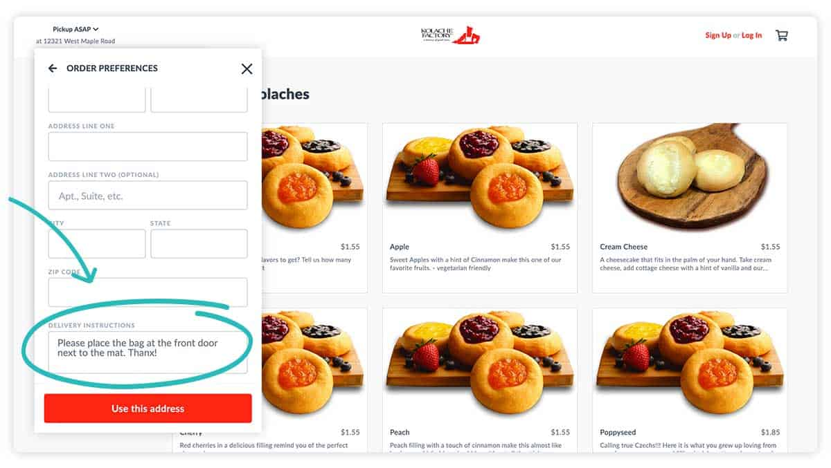 Kolache Factory web ordering with emphasis on delivery instructions.