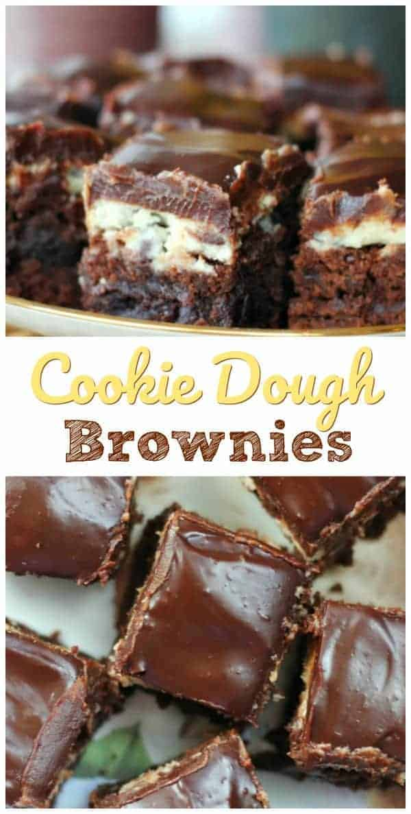 Cookie Dough Brownies - Ooo, Behave! Cookie Dough <---- Meeeee love! Even more love, when it is wedged in between a rich brownie layer and topped with a divine chocolate fudge ganache. Cookie Dough Brownies!! #brownies #chocolate #cookies #cookiedough