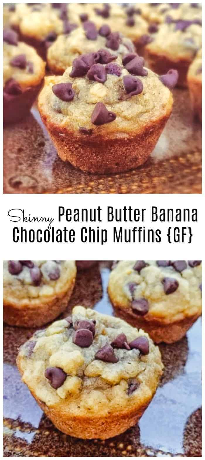 Skinny Peanut Butter Banana and Chocolate Chip Muffins {GF}