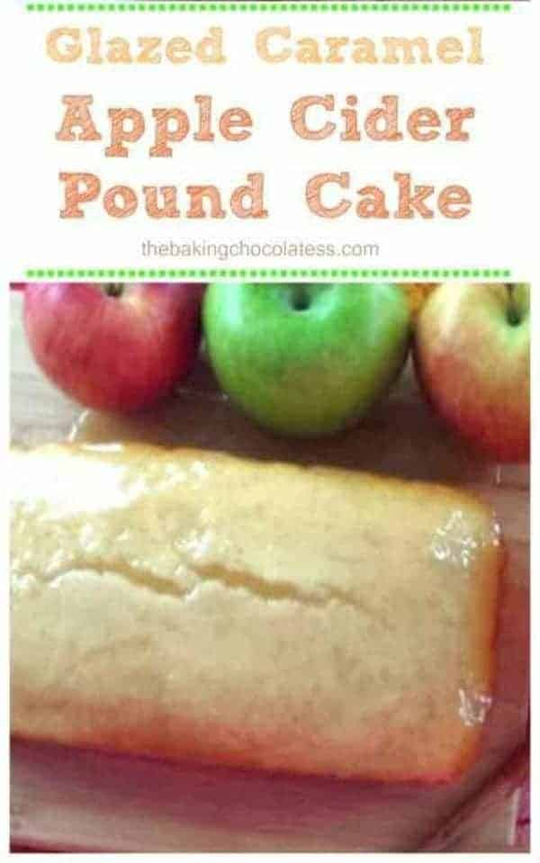 Glazed Caramel Apple Cider Pound Cake - The apple cider pound cake is super moist, has a tender, tight crumb and is simply glorious, just as a pound cake should be!   Serve it with this delectable, sweet Caramel Apple Cider Glaze and some whipped cream! #cake #bread #apple #apple cider #caramel #glaze #breakfast #brunch #fall baking