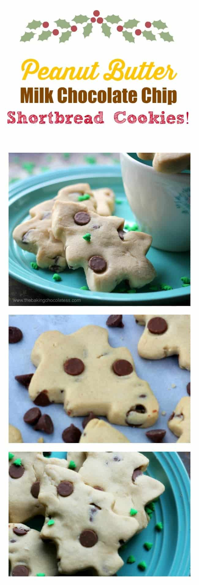 Peanut Butter Milk Chocolate Chip Shortbread Cookies! #shortbread #chocolate chip #cookies
