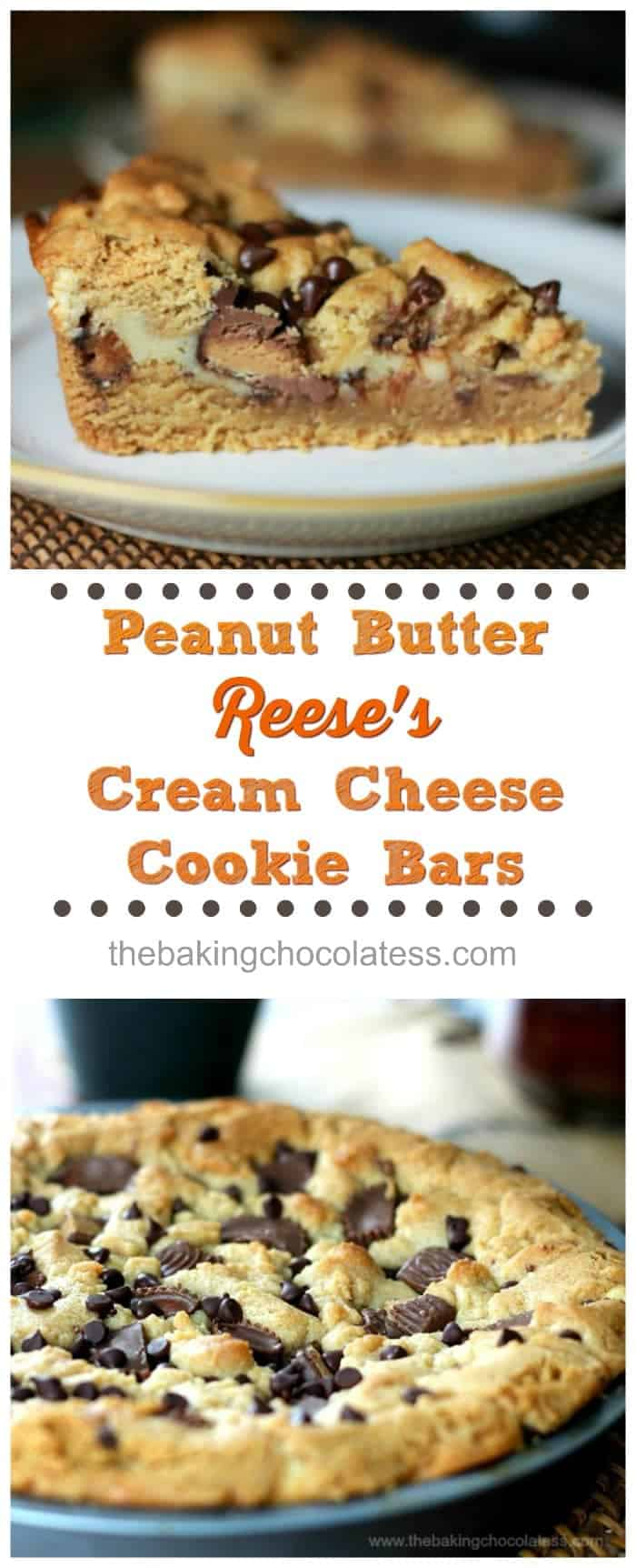 Peanut Butter Reese\'s Cream Cheese Cookie Bars! Would YOU turn peanut butter & Reese\'s Cup cookies entertwined with cream cheese down?   - #peanutbutter #reeses #bars #baking #creamcheese