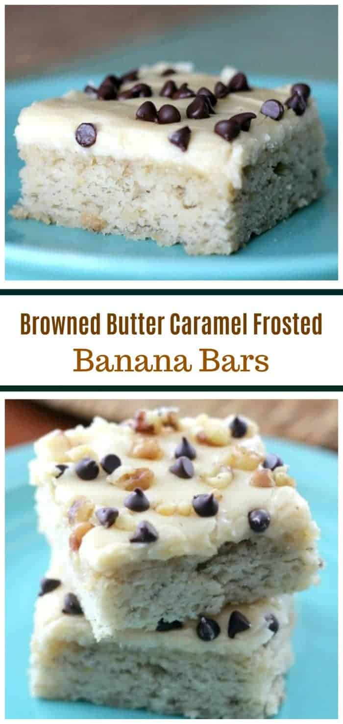 \'Winning\' Banana Bars {Browned Butter & Caramel Frosting}