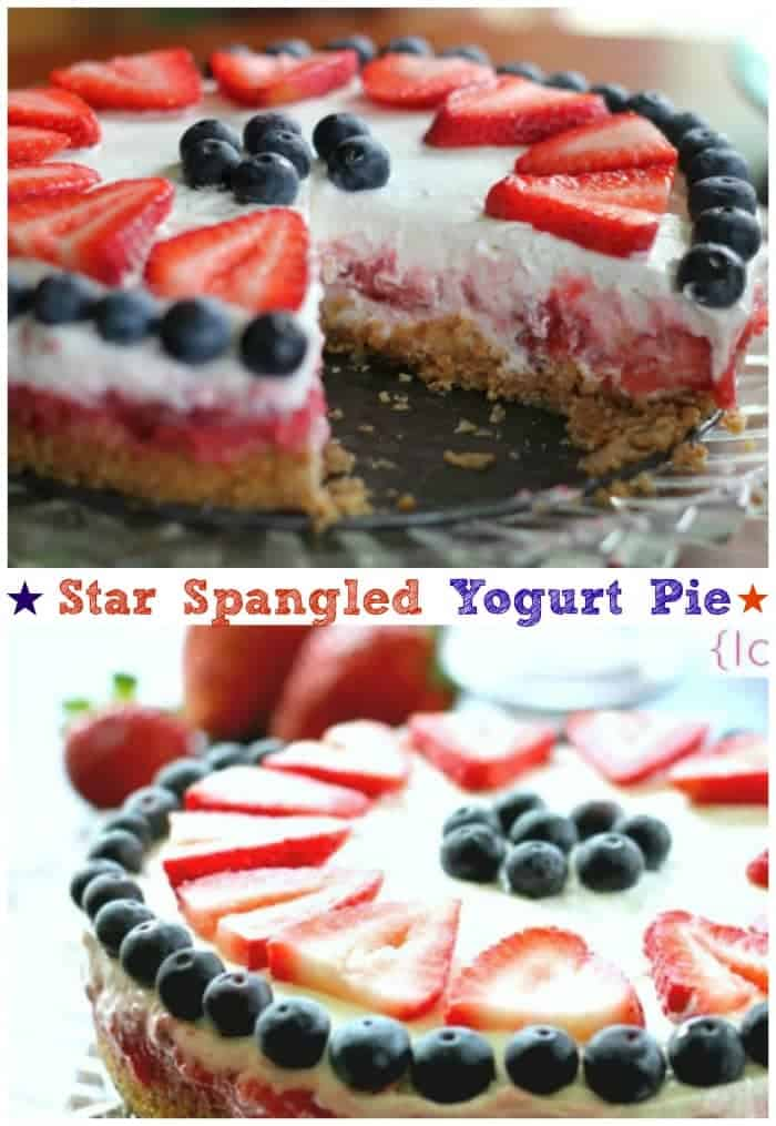 Star Spangled Yogurt Pie {Ice Box or Freezer Style}