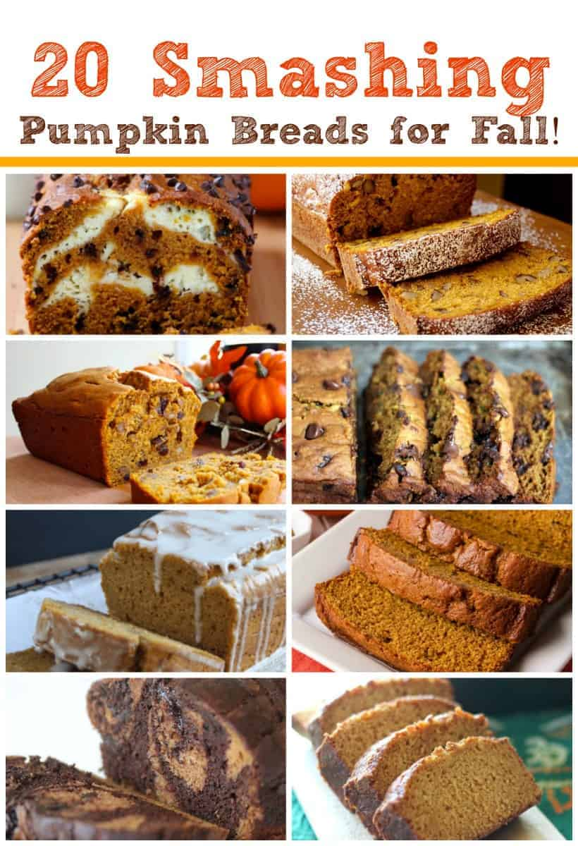 20 Smashing Pumpkin Breads for Fall! Are you having early pumpkin bread cravings? Pumpkin bread is definitely one of those comfort foods that just make everything better and it tastes awesome!  Whether it\'s plain or filled with cream cheese, chocolate chips, walnuts or topped with a yummy glaze or a streusel, it\'s all  amazingly good in my book. #pumpkin #pumpkinbread #bread #fallbaking