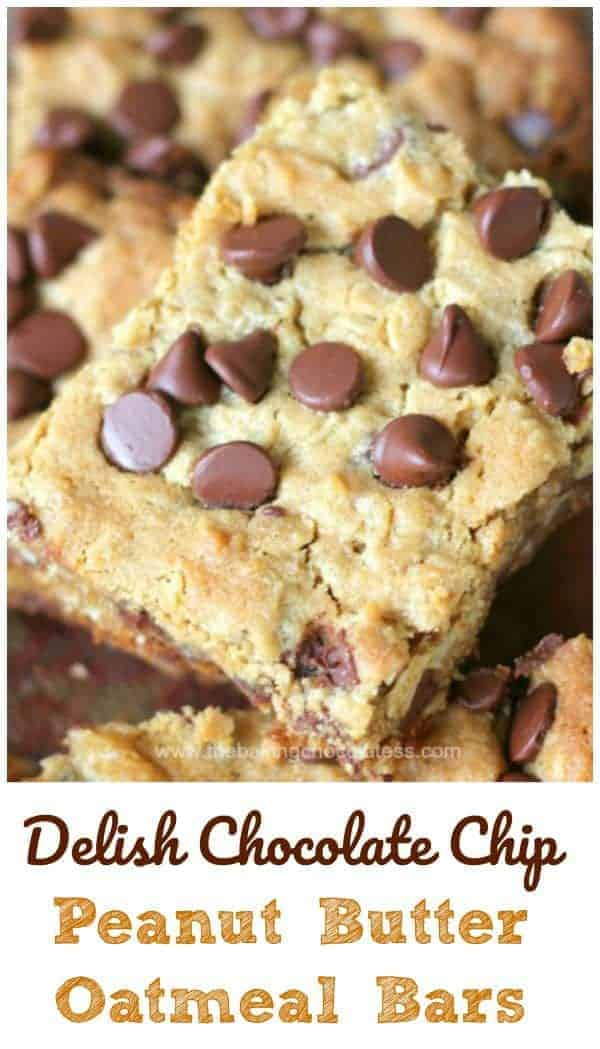 Delish Chocolate Chip Peanut Butter Oatmeal Bars - Delish Chocolate Chip Peanut Butter Oatmeal Bars are in the house! Healthy-ish too! #healthy #chocolate chip #peanut butter #oatmeal #bars