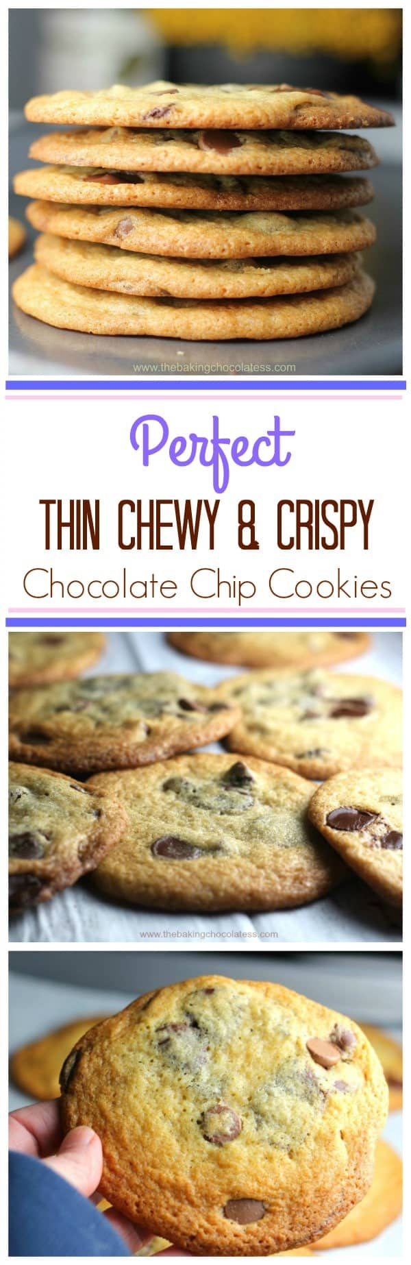 Best Thin & Crispy Chocolate Chip Cookies - These sinfully, delicious Perfect Thin & Crispy Chocolate Chip Cookies are exactly what they are! Perfect Thin & Crispy and you won't want to let these get out of your sight! #thin cookies #chocolate chip