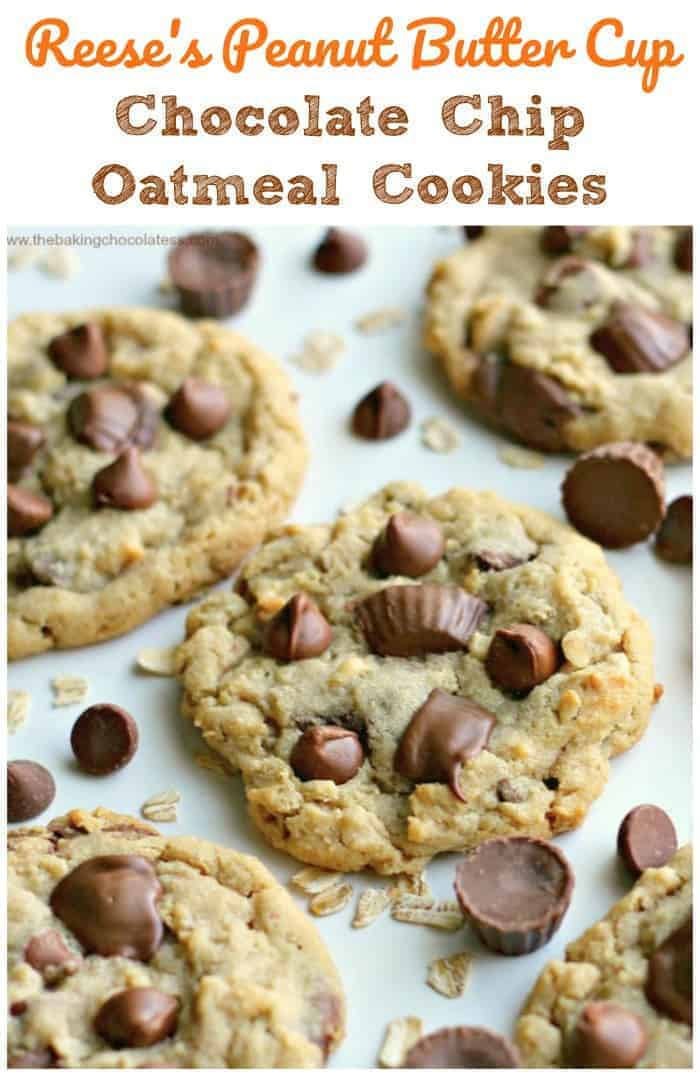 Reese\'s Peanut Butter Cup Chocolate Chip Oatmeal Cookies -Rich mini Reese\'s Peanut Butter Cups, velvety milk chocolate chips, peanut butter love, and old-fashioned oats all rolled up into soft, thick and chewy delectable cookies. Size-ably large too, just they way we like them! #oatmeal #peanut butter #chocolate #cookies #reeses