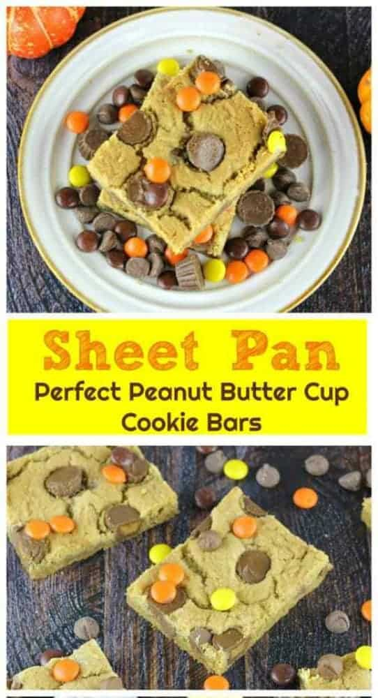 Sheet Pan Perfect Peanut Butter Cup Cookie Bars - So moist and chewy, these delicious peanut butter cookie bars are filled with Reese\'s Mini Peanut Butter Cups and Ghirardelli Milk Chocolate Chips and some Reese\'s Pieces for a splash of fall color.  Woo-wee! #reeses #peanut butter #ghirardelli #milk chocolate #bars #chocolate chips #sheet pan #cookies