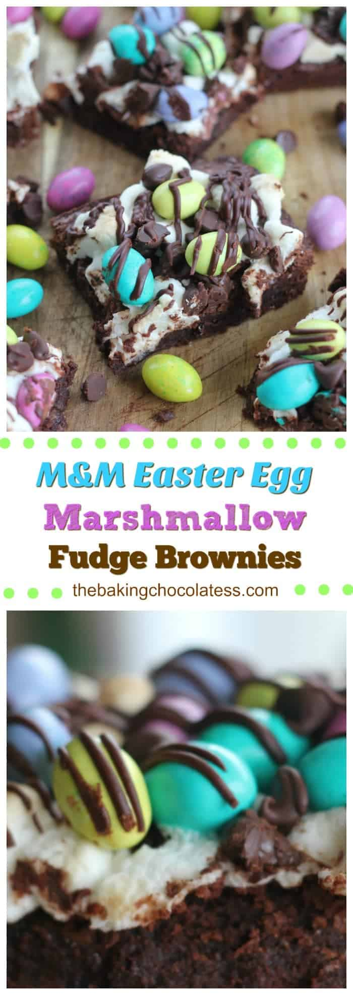 M&M Easter Egg Marshmallow Fudge Brownies - \