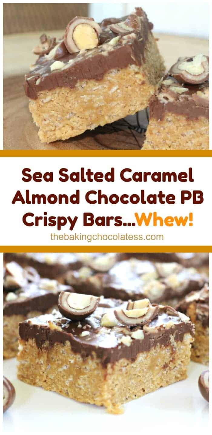 Sea Salted Caramel Almond Chocolate PB Crispy Bars...Whew! These magnificent bars are every bit as good as the title is long!  The peanut butter bars are made with honey, sugar, peanut butter and rice krispies.  The bars are crispy and chewy.  they\'re slathered with a lovely chocolate peanut butter layer and then enrobed with INSANE chopped Milk Chocolate Covered Sea Salt Caramel Almonds scattered about and then you get OMG!  #peanut butter #caramel #almonds #sea salt #chocolate #bars