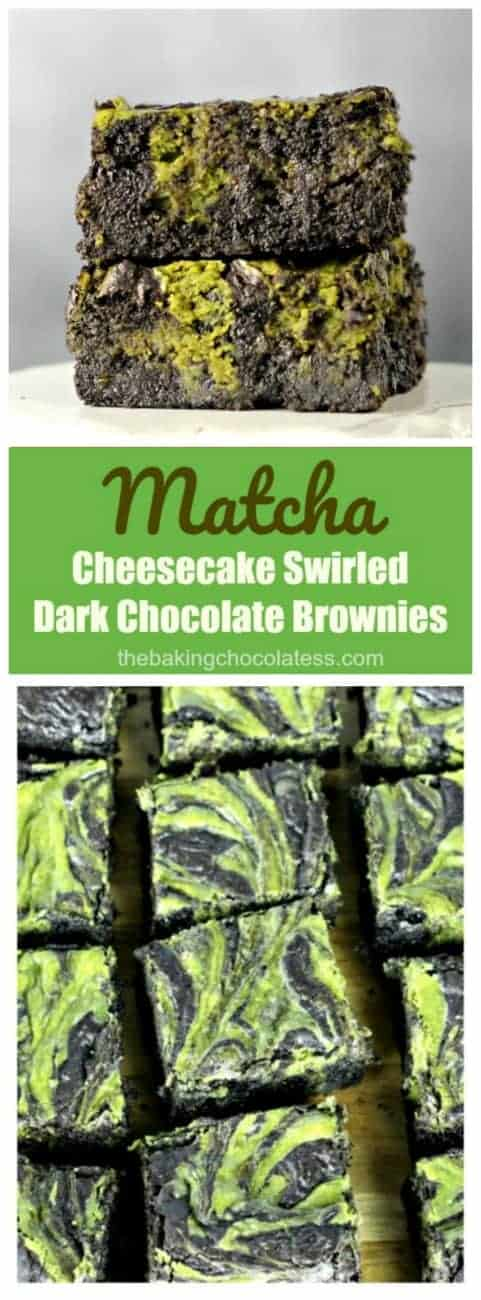 Matcha Cheesecake Swirled Brownies - Matcha Cheesecake swirled in dark, decadent chocolate brownies have a green tea kick to \'em!
