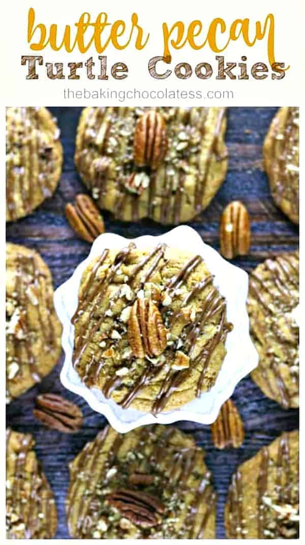 Butter Pecan Turtle Cookies - These mouth-watering cookies are buttery, chewy, thick and have caramel chips, chocolate chips, chopped pecans and drizzled with milk chocolate, sprinkled with some chopped pecans and a touch of sea salt. Perfect for the holidays! #butterpecan #turtle #turtlecookies #cookies #butterpecancookies #bestcookies #christmas #holidaybaking