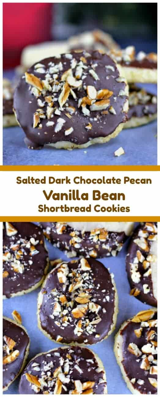Vanilla Bean Shortbread Cookies (Salted Dark Chocolate Pecan On Top Option too!) Vanilla Bean Shortbread Cookies are rich and buttery, vanilla bean heavenly infused, perfectly crumbly, delicately tender and literally melt-in-your-mouth.    You can have these as is, which are most delicious and/or you can have them dipped in sinfully Salted Dark Chocolate with a sprinkling of pecans.