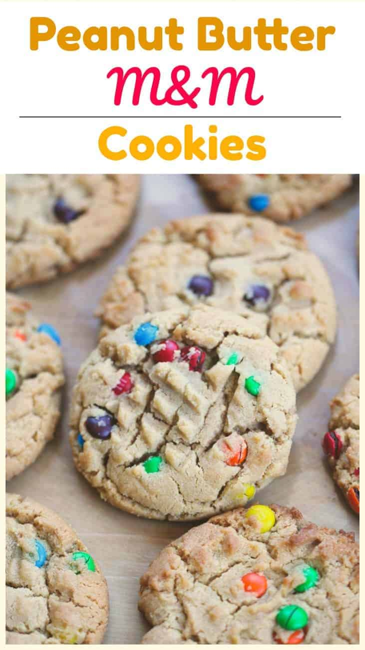 Peanut Butter M&M Cookies - Satisfy your peanut butter cravings with these soft, yet chewy classic peanut butter cookies decked out with those cute baby mini M&Ms to delight your taste buds with each yummy bite. #peanutbutter #cookies #m&ms #softcookies #baking #yummy #kingarthurflour #mmschocolate #jif