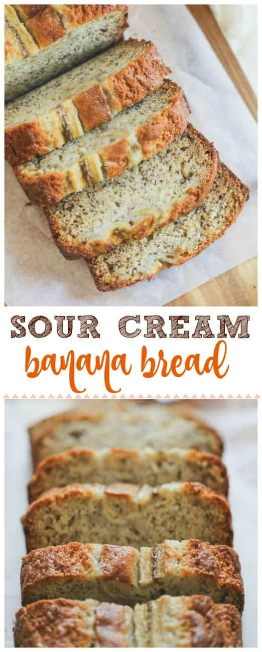 Sour Cream Banana Bread -  This moist, slightly tangy Sour Cream Banana Bread is super delicious on its own or try slathering it with some butter while the bread is still warm.  It can\'t be beat for summer banana bread for snacking, picnics and ripe bananas! #banana #banana bread #dessert #baking #sour cream