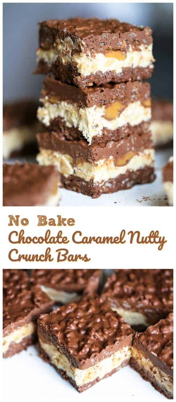 No Bake Chocolate Caramel Nutty Crunch Bars -These impressive and magnificent triple layered No Bake Chocolate Caramel Nutty Crunch Bars are so heavenly yummy, you\'ll wish you knew of them sooner!  #treats #rolos #peanut butter #nuts #cocoa #rice krispies #bars #crunch bars #no bake #marshmallow #kelloggs