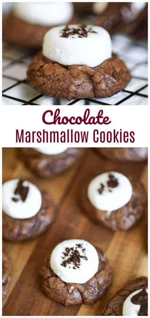 \'Hubba-Hubba' Brownie Chocolate Chip Marshmallow Cookies - Loaded with gooey marshmallow, an abundance of chocolate chips and thick, rich brownie cookies, makes these heavenly delights so chewy, moist and absolutely delicious. #cookies #cocoa #marshmallow #holidays #chocolate chip