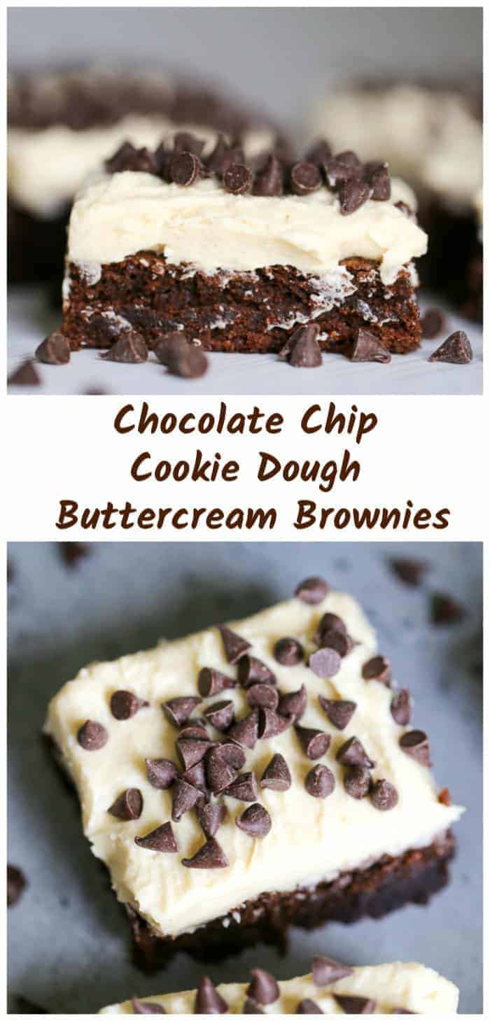 Chocolate Chip Cookie Dough Buttercream Brownies