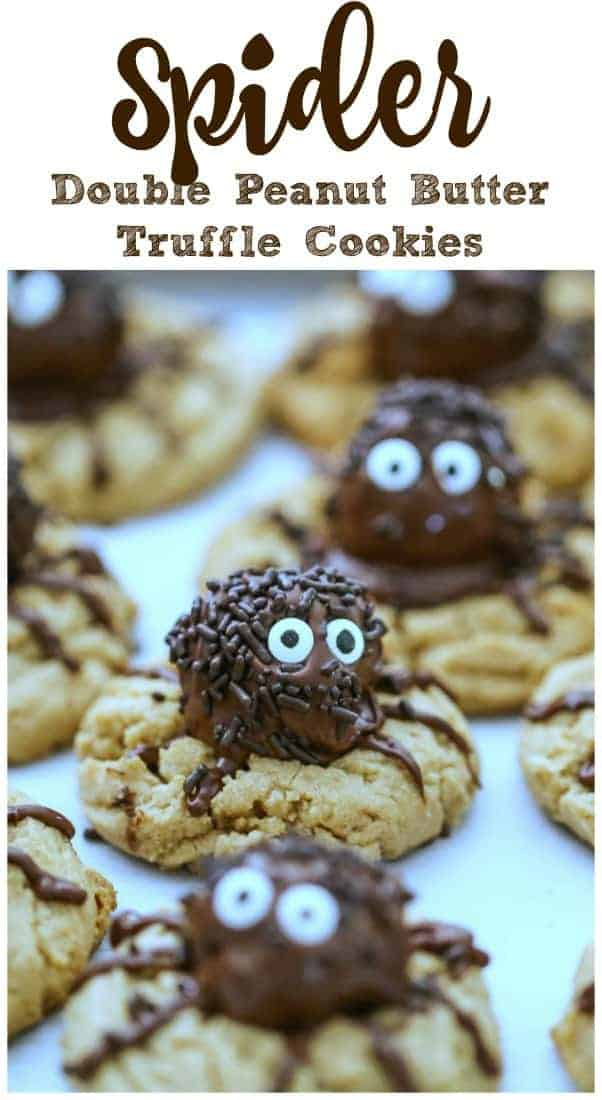 Spider Double Peanut Butter Truffle Cookies - Spider Double Peanut Butter Truffle Cookies - Soft and thick peanut butter cookies stuffed with phat spiders made of chocolate covered peanut butter truffles.  #truffles #peanut butter #halloween #spiders #cookies #chocolate