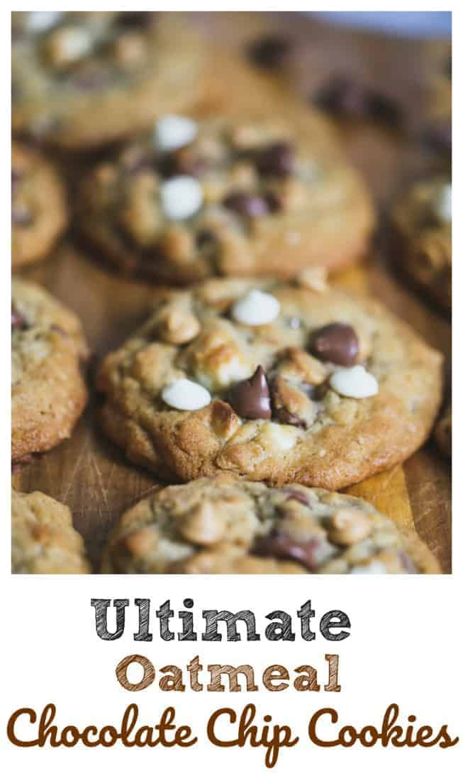 Ultimate Oatmeal Chocolate Chip Cookies - Ultimate Oatmeal Chocolate Chip Cookies have the unbeatable combination of delicious white chocolate, peanut butter and milk chocolate chips, old-fashioned oats and a hint of cinnamon to make them desirable and dangerous at the same time.  #cookies #oatmeal #chocolate chip #triple chocolate #baking #holidays