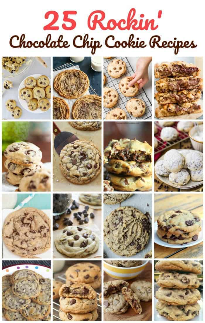 25 Rockin\' Chocolate Chip Cookie Recipes - Gaze upon drool-worthy chocolate chip cookies, that maybe, will inspire you to bake chocolate chip cookies.  The smell of freshly baked chocolate chip cookies and eating them while they are still warm is a cookie lover\'s fantasy.  Let\'s rock! #chocolate chip #cookies #holidays #baking #chocolate #christmas #cookie exchange