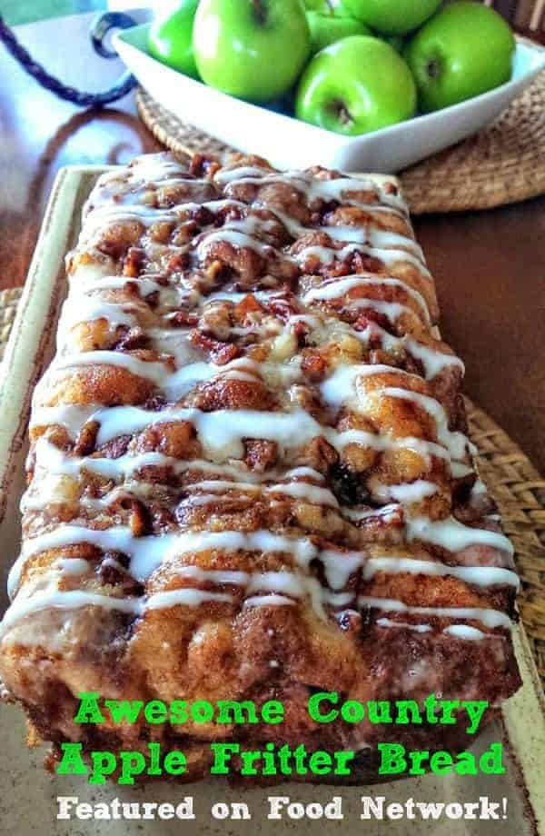 Awesome Country Apple Fritter Bread! Have you ever had an apple fritter transformed into fluffy, buttery, white cake loaf with chunks of juicy apples and layers of brown sugar and cinnamon swirled inside and on top?  Drizzle with some old-fashioned creme glaze and devour!   It\'s so moist, so delicious and full of home-made goodness straight from your heart, because why?  Because YOU made it!  #apple #bread #quickbread #fritter #baking #fall #holidays #foodnetwork #bestapplebread #app...