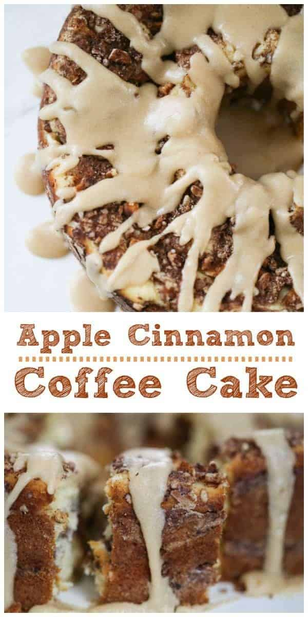 Apple Cinnamon Coffee Cake - Sugar Free Option too!  This lush, vanilla butter coffee cake has cinnamon-sugar baked in with bits of apple, pecans and walnuts in every slice...and if you wish, a buttery brown sugar glaze to take it that next step to heaven.  #sugarfree #coffee cake #apple #cinnamon #apple #breakfast
