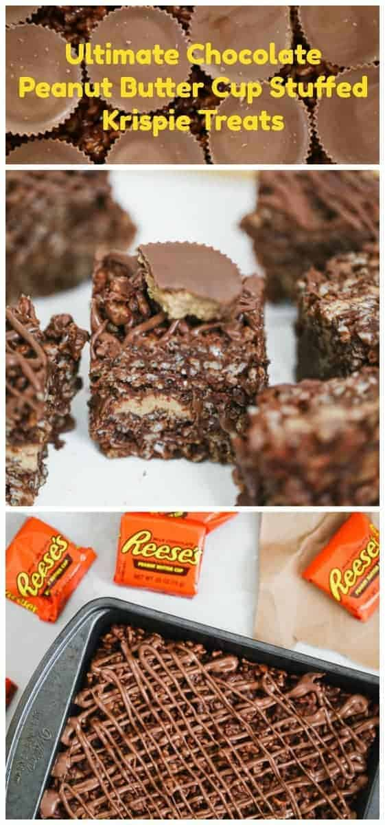 Ultimate Chocolate Peanut Butter Cup Stuffed Krispie Treats - Ultimate Chocolate Peanut Butter Cup Stuffed Krispie Treats are rich chocolate and peanut butter rice krispie treats stuffed with delicious Reese\'s Peanut Butter Cups and topped with a smooth milk chocolate drizzle and they are literally to die for. #ricekrispies #treats #chocolate #peanutbutter #stuffedricekrispies #stuffedtreats #peanutbuttercups #reeses #nobake #bars