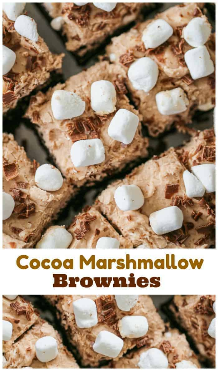 Cocoa Marshmallow Brownies - GF option -Lots of light and fluffy cocoa frosting, mini marshmallows, shaved chocolate paired with the most wonderful fudgy, cake-like brownie that you\'ll fall head over heels over.  Literally amazing and tasty!
