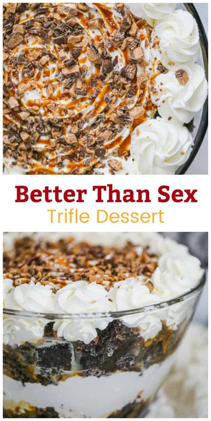 Better Than Sex Trifle Dessert - Just slay into all those luscious layers of dark chocolate cake drenched in sweetened condensed milk, salted caramel sauce, buttery Heath toffee bits & tons of fluffy whipped cream. Feeds a crowd for any occasion.  Makes everyone happy & satisfied, but it\'s so addicting, you might have to give in and go another round! Let\'s party! #trifle #dessert #feedacrowddessert #betterthansexcake #chocolatecake #layereddessert #caramel #heath #toffee #holidaydessert #party