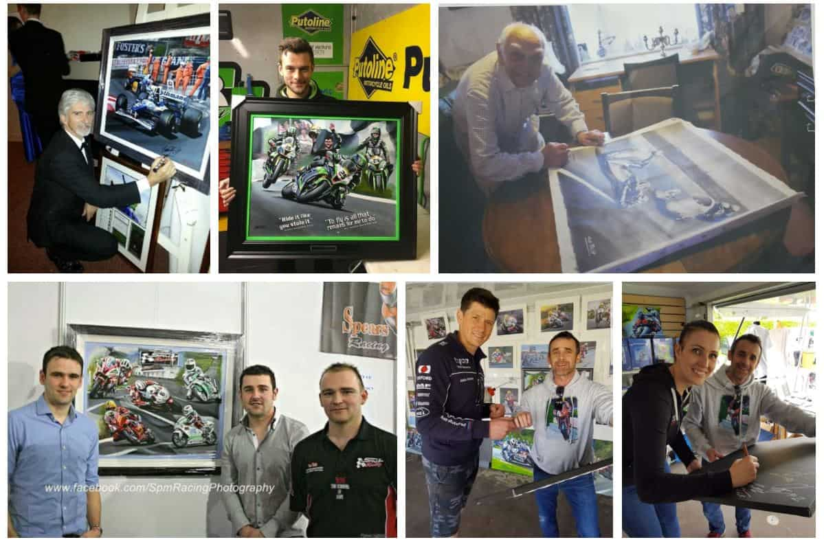 Racing Legends signing the original prints from Jeff Rush and Artworx. Formula 1 Legends signing.