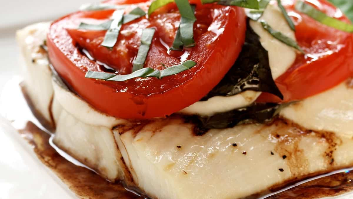 Halibut Caprese Salad
