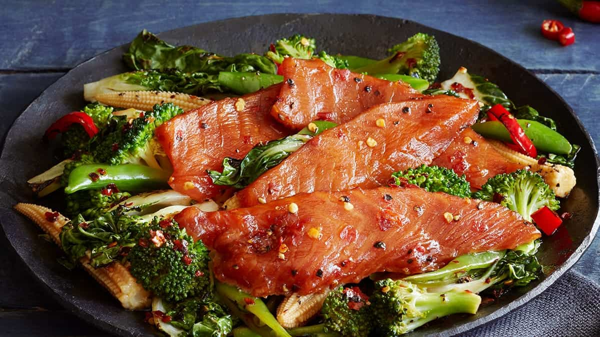 Candied Salmon Pepper Stir Fry