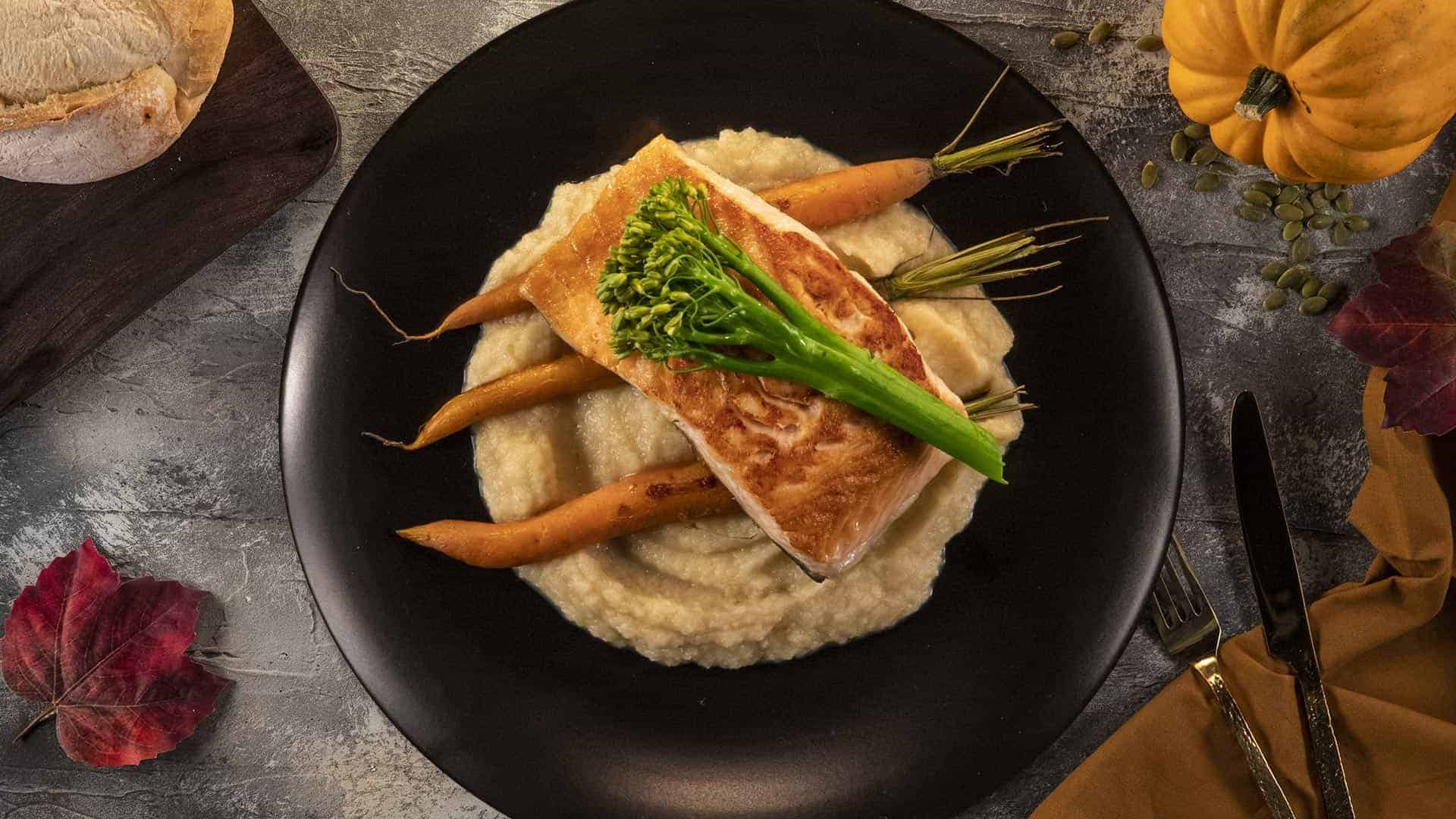 Seared Salmon with Garlic Parsnip Puree