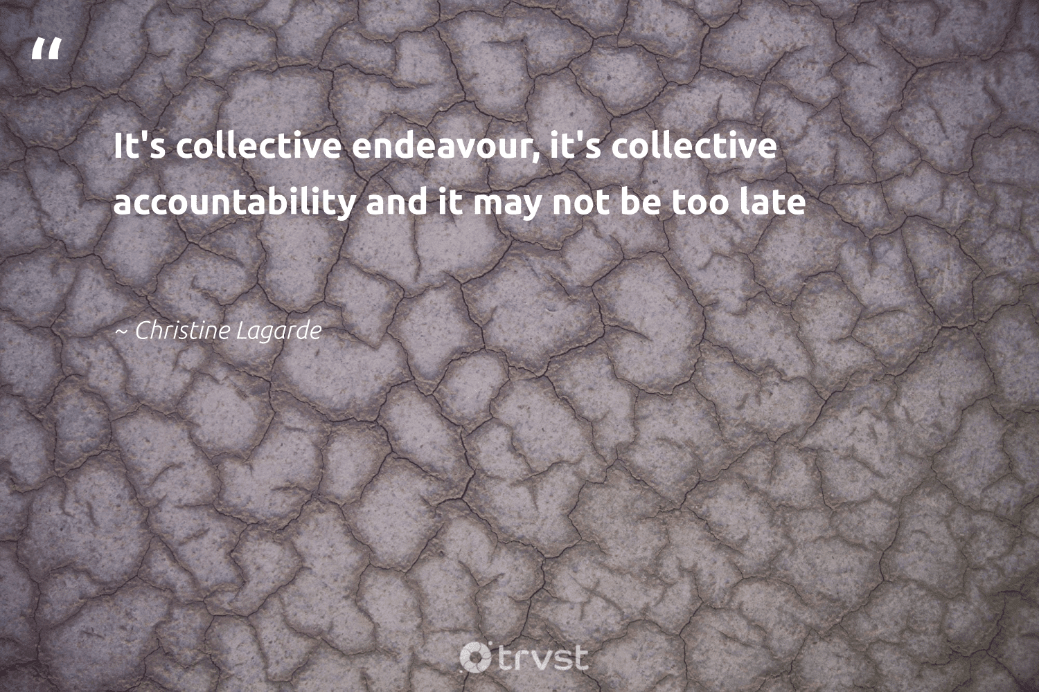 """""""It's collective endeavour, it's collective accountability and it may not be too late""""  - Christine Lagarde  #trvst #quotes #sustainablefutures #socialchange #globalwarming #dosomething #climateaction #impact #climate #dogood #climatechangeisreal #ecoconscious"""