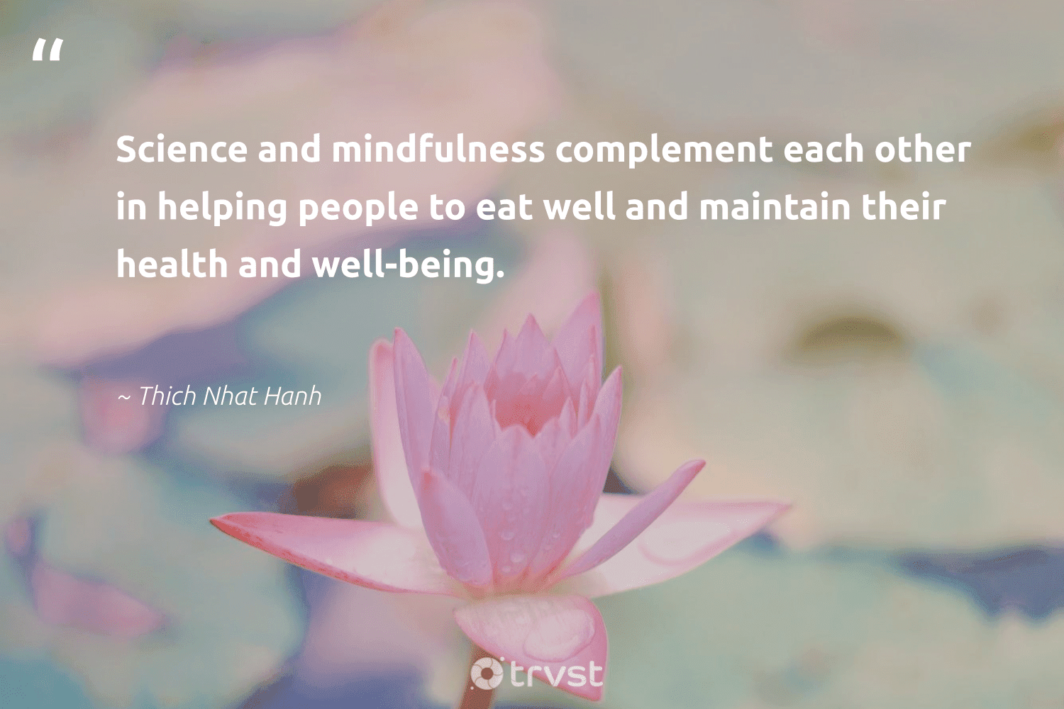 """""""Science and mindfulness complement each other in helping people to eat well and maintain their health and well-being.""""  - Thich Nhat Hanh #trvst #quotes #science #health #wellbeing #mindfulness #research #mindset #biology #gogreen #happiness #natural"""
