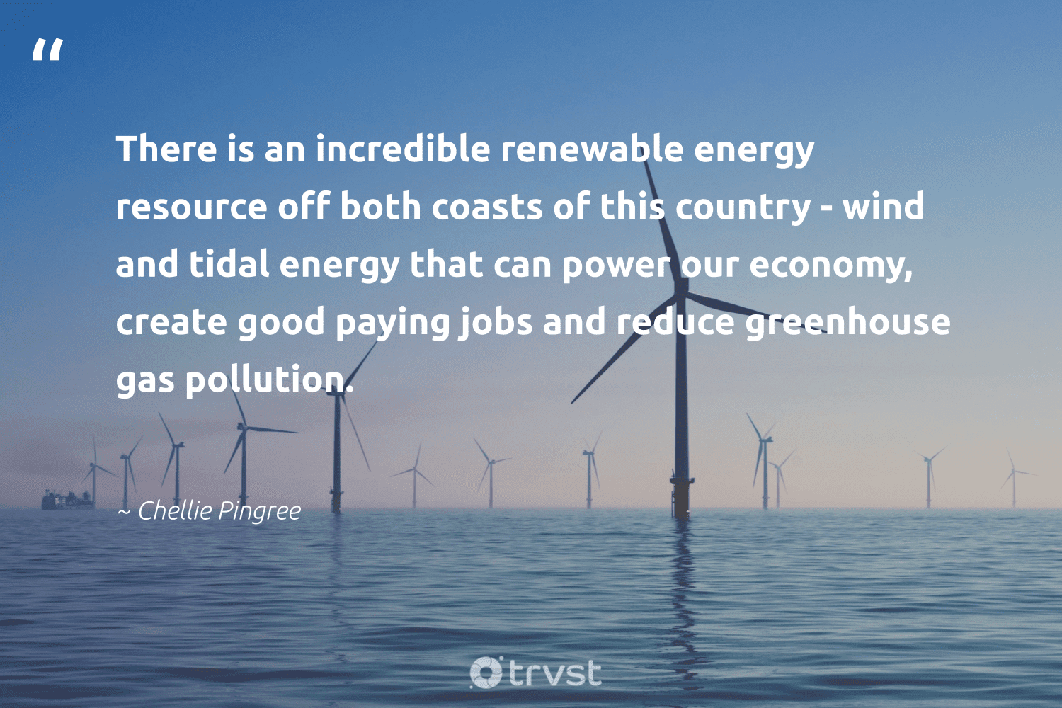 """""""There is an incredible renewable energy resource off both coasts of this country - wind and tidal energy that can power our economy, create good paying jobs and reduce greenhouse gas pollution.""""  - Chellie Pingree #trvst #quotes #renewableenergy #reduce #energy #renewable #gas #pollution #lowcarbon #reducereuserecycle #nature #sustainability"""