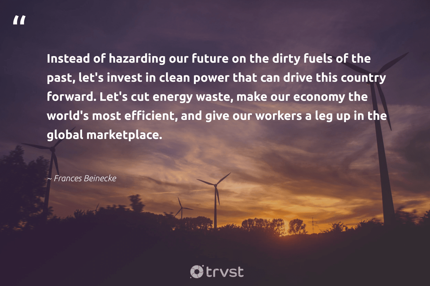 """""""Instead of hazarding our future on the dirty fuels of the past, let's invest in clean power that can drive this country forward. Let's cut energy waste, make our economy the world's most efficient, and give our workers a leg up in the global marketplace.""""  - Frances Beinecke #trvst #quotes #waste #energy #climatechange #dogood #carbonfree #thinkgreen #sustainability #socialchange #carboncapture #impact"""