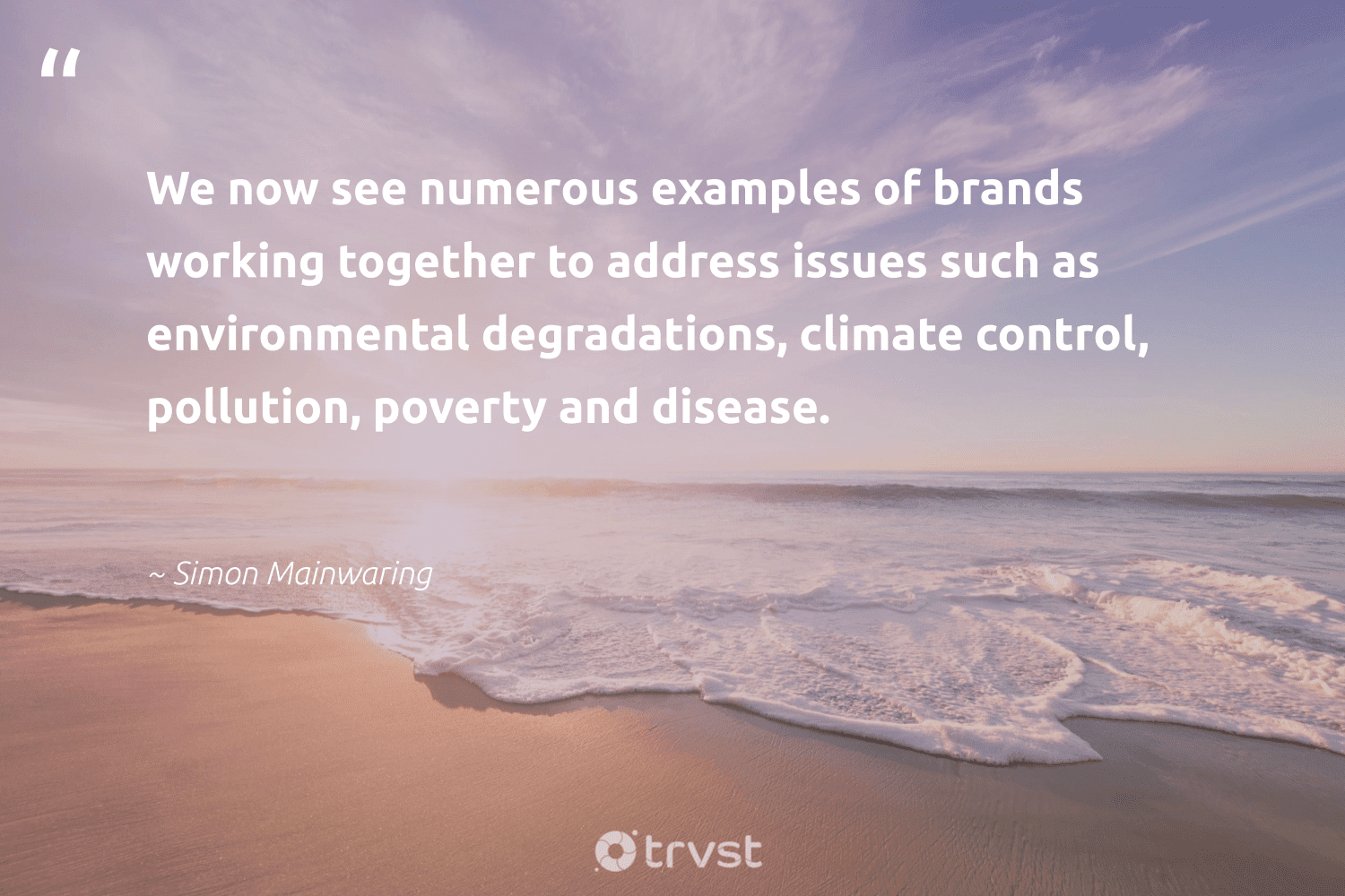 """""""We now see numerous examples of brands working together to address issues such as environmental degradations, climate control, pollution, poverty and disease.""""  - Simon Mainwaring #trvst #quotes #environmental #pollution #climate #poverty #workingtogether #pollute #sharedresponsibility #naturelovers #collectiveaction #spill"""