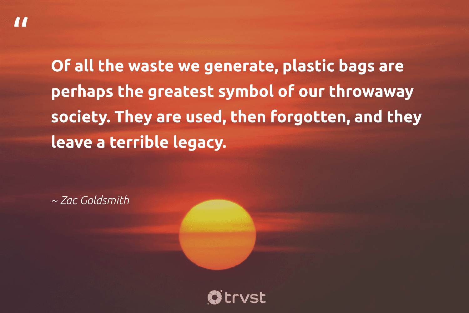 """""""Of all the waste we generate, plastic bags are perhaps the greatest symbol of our throwaway society. They are used, then forgotten, and they leave a terrible legacy.""""  - Zac Goldsmith #trvst #quotes #plasticwaste #waste #plastic #society #legacy #betterfortheplanet #wastenotwantnot #takeaction #banthebag #dosomething"""