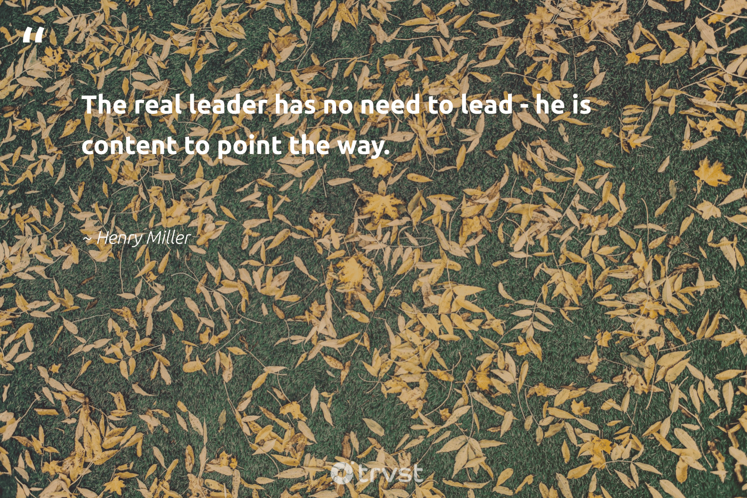 """The real leader has no need to lead - he is content to point the way.""  - Henry Miller #trvst #quotes #begreat #bethechange #futureofwork #dosomething #nevergiveup #takeaction #softskills #ecoconscious #dotherightthing #gogreen"