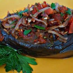 Stuffed Eggplant with Onion, Tomato and Fresh Herbs